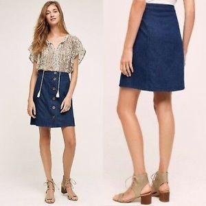 Pilcro & the Letterpress Denim A-line Skirt Button